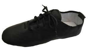 Black-Jazz-Dance-Modern-Shoes-Leather-Split-Sole