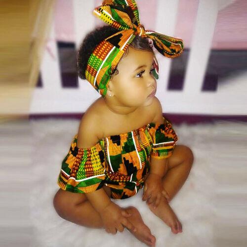2PCS Toddler Baby Girls African Print Off Shoulder Romper Hair Band Bodysuits