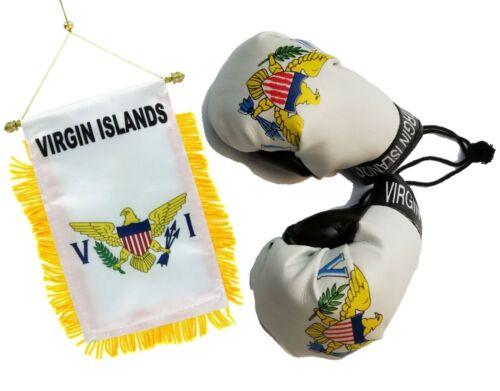 U.S.V.I Virgin Islands VI Mini Banner Flag Car Mirror Boxing Glove St Thomas V.I