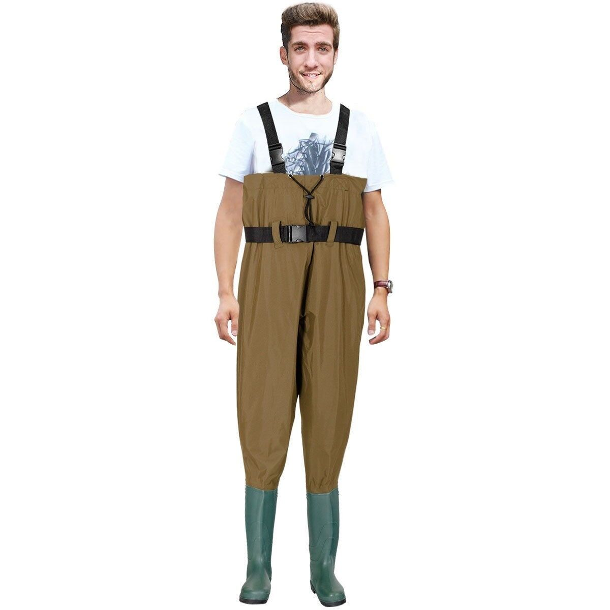 Waterproof Chest Waders Nylon PVC Cleated Bootfoot Fishing & Hunting Brown