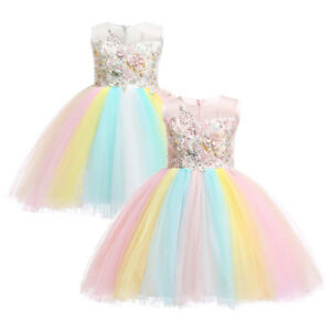 a027a5fba09ed Details about Girl Unicorn Costume Rainbow Tutu Princess Wedding Birthday  Party Dress for Kid