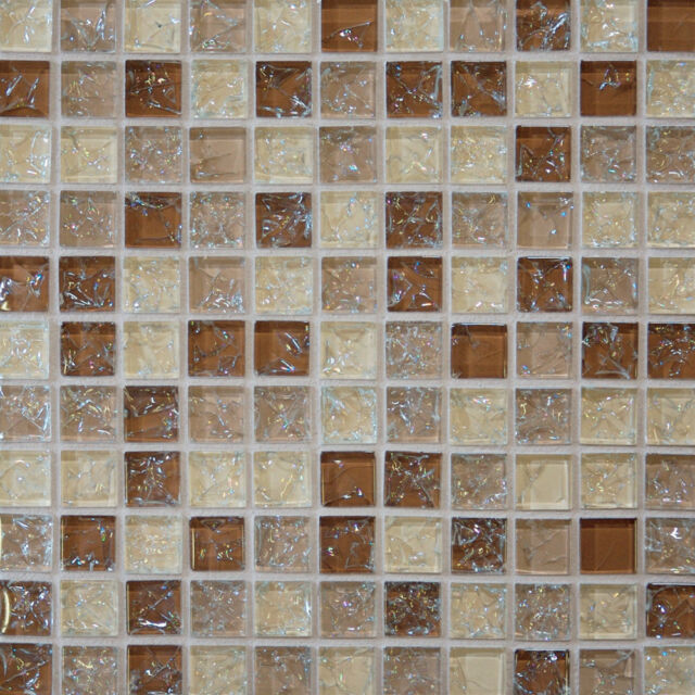 1 SF Brown Crackle Glass Mosaic Tile Backsplash Kitchen Wall Bathroom  Shower Spa For Sale Online