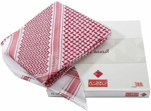 Albassam Shemagh Arabic scarf Ghutrah RED Made in England