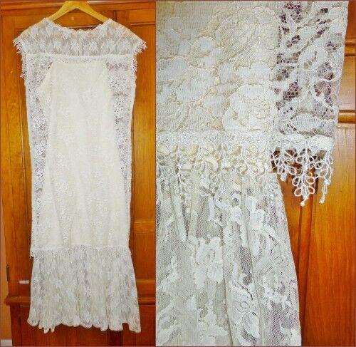 Vtg 80s McClintock GUNNE SAX Sheer Ivory LACE Boho Flapper Wedding Party DRESS