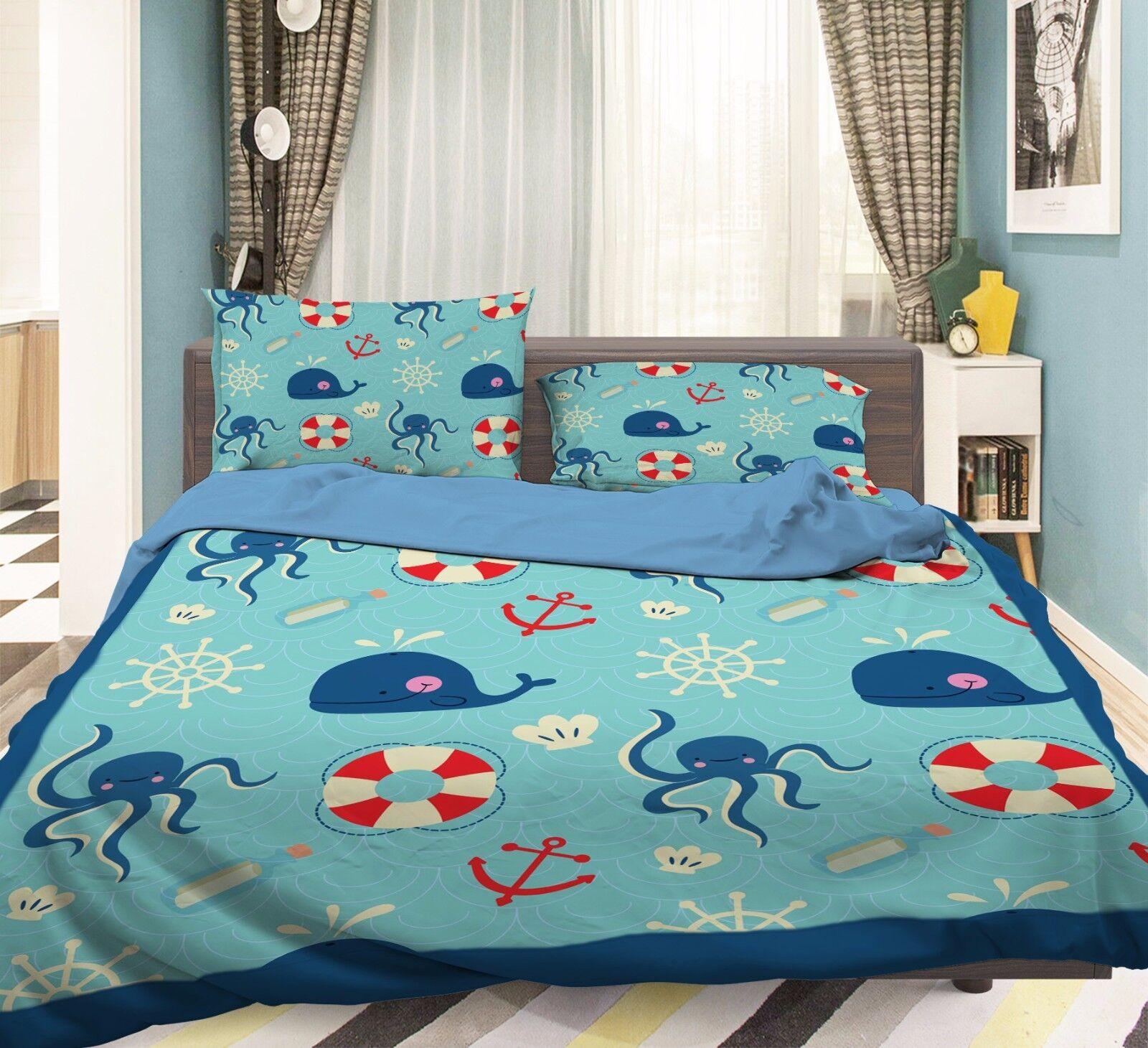 3D blu Whale 816 Federe Letto Trapunta Set Copripiumino Singolo QUEEN UK Kyra