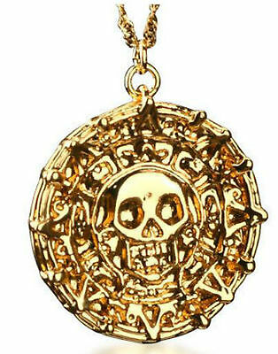 PIRATES OF THE CARIBBEAN AZTEC GOLD COIN NECKLACE COSTUME FANCY DRESS *NEW
