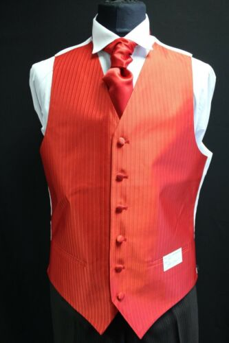 MEN AND BOYS RED STRIPPED WAISTCOATS