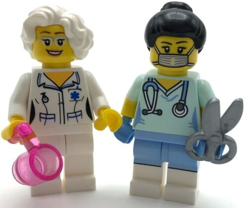 LEGO 2 NEW NURSE MINIFIGURES SURGEON AND DOCTOR HOSPITAL GIRLS