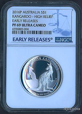 2016 P Australia HIGH RELIEF 1oz Silver Kookaburra $1 Coin NGC PF70 UC ER OGP