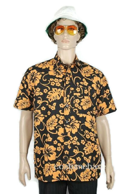 Fear and Loathing In Las Vegas Raoul Duke RED PATTERN SHIRT HAT GLASSES Costume