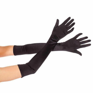 "Lady Women Evening Long Finger Gloves Satin Charleston Party Dress Prom 22/"""