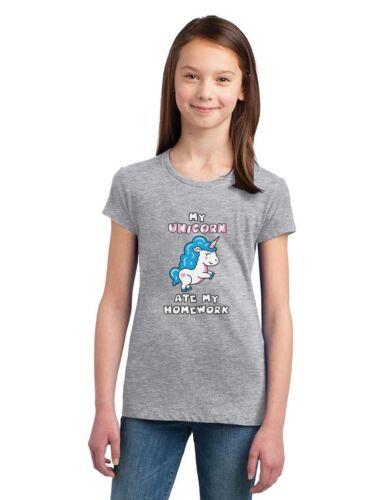 Unicorn Ate My Homework Funny School Girls/' Fitted Kids T-Shirt Gift Idea