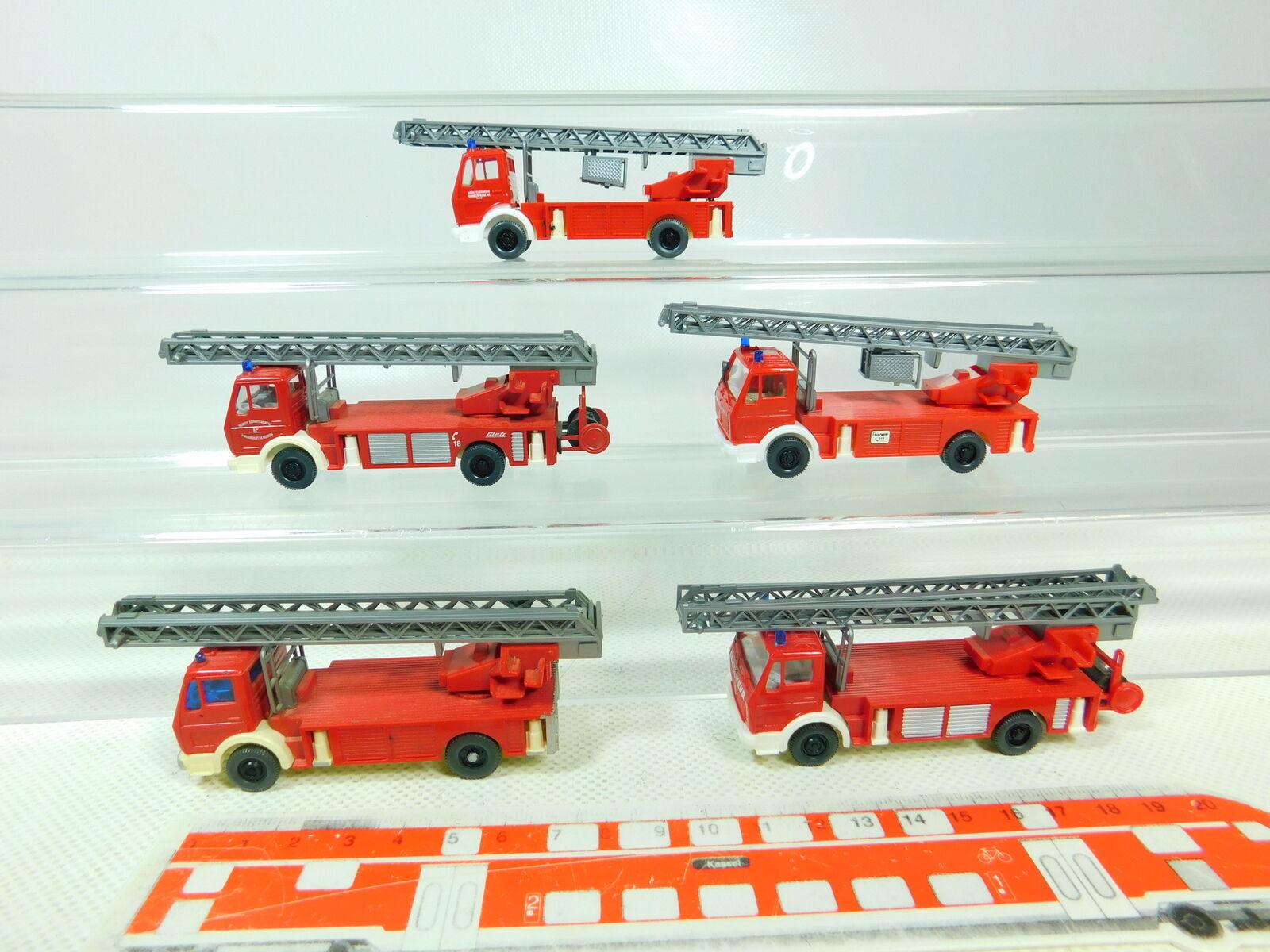 BT356-0,5x Wiking H0 1 87 Feuerwehr-Drehleiter MB Mercedes, gute 2. Wahl