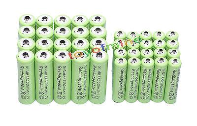 20x AA 3000mAh + 20xAAA 1800mAh 1.2V NI-MH Rechargeable Battery 2A 3A Green Cell