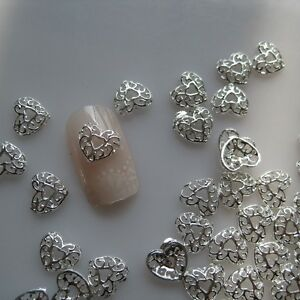 10pcs silver heart metal deco charms nail art md 611 ebay