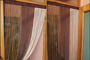 Gardine Fadenstore Fadenvorhang Faden Tür Fenster Vorhänge B 90 X H