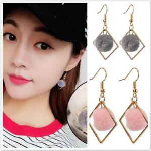 Soft Ball Pompom Long Earrings Drop Dangle Earring Women Ear Stud Jewelry`YRDE
