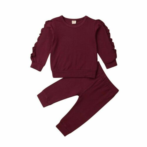 Newborn Baby Ruffles Decor Sweatshirt Pants Solid Long Sleeve Infant Kids Fall