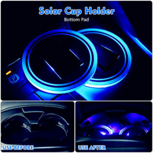 1X Car Solar Cup Holder Bottom Pad LED Light Cover Trim Atmosphere Lamp Lights