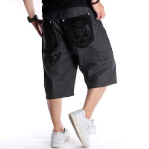 Mens-Jeans-Shorts-Denim-Capri-Pants-Relaxed-Hip-Hop-Baggy-Loose-Black-W30-W46