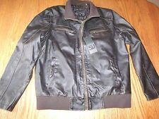 NWT MENS SEAN JOHN DARK BROWN FAUX LEATHER JACKET COAT  SIZE MEDIUM M