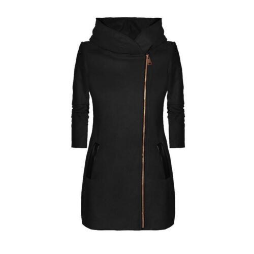 Ladies Winter Collar Hooded Colorblock Zipper Long Sleeve Coat Jacket Outwear