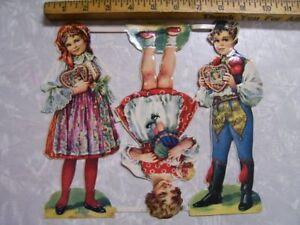 Victorian-Die-Cut-Dolls-Scraps-Children-Uncut-Scrapbook