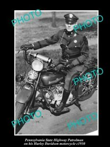 OLD-LARGE-HISTORIC-PHOTO-OF-PENNSYLVANIA-POLICE-HARLEY-DAVIDSON-MOTORCYCLE-c1930