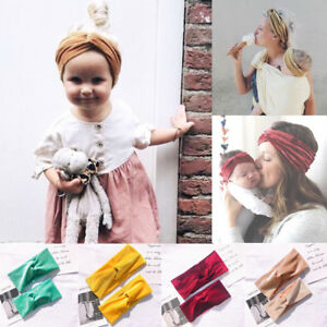 2Pcs-Mom-amp-Kids-Turban-Baby-Bow-Matching-Headband-Velvet-Elastic-Knot-Hair-Band