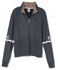 Victorias Secret PINK Leopard Half Zip Boyfriend Crew Pullover Sweatshirt Gray M