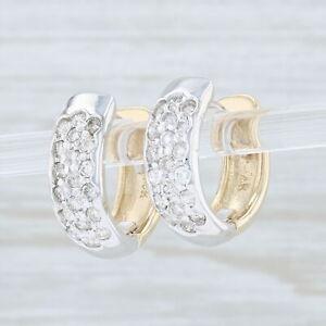 66ctw-Diamond-Huggie-Earrings-14k-White-amp-Yellow-Gold-Round-Hoops-Hinged