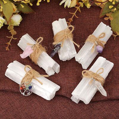 Crystal Healing Wands Set Selenite Bunch Hexagonal Column Gemstone Wrap Pendant