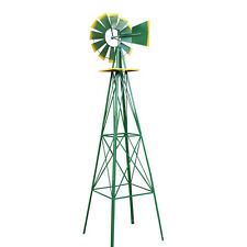 Attractive Windmill Ornamental Wind Wheel Green And Yellow Garden Weather Vane 8ft Tall