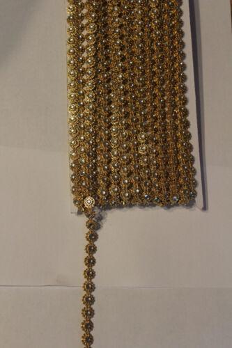 kristall 9,5 mm breit 1 meter Schmuckborte gold