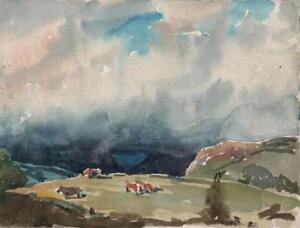 GEORGE-GRAINGER-SMITH-Small-Watercolour-Painting-CATTLE-MOUNTAIN-LANDSCAPE-c1930
