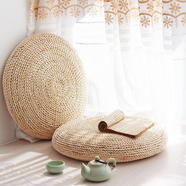 Round Straw Weave Handmade Pillow Floor Yoga Chair Seat Mat Tatami Cushion  40cm