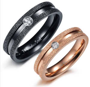 Couple Rings Stainless Steel Frosted lines w//zircon Promise ring Valentine gift