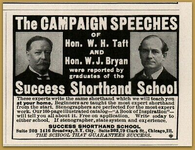 Collectibles Merchandise & Memorabilia 1909 D Success Shorthand School Speeches Taft Bryan Print Ad Less Expensive