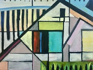 Details About Abstract Modernist Oil Painting On Linen Architectural House Geometric Shapes