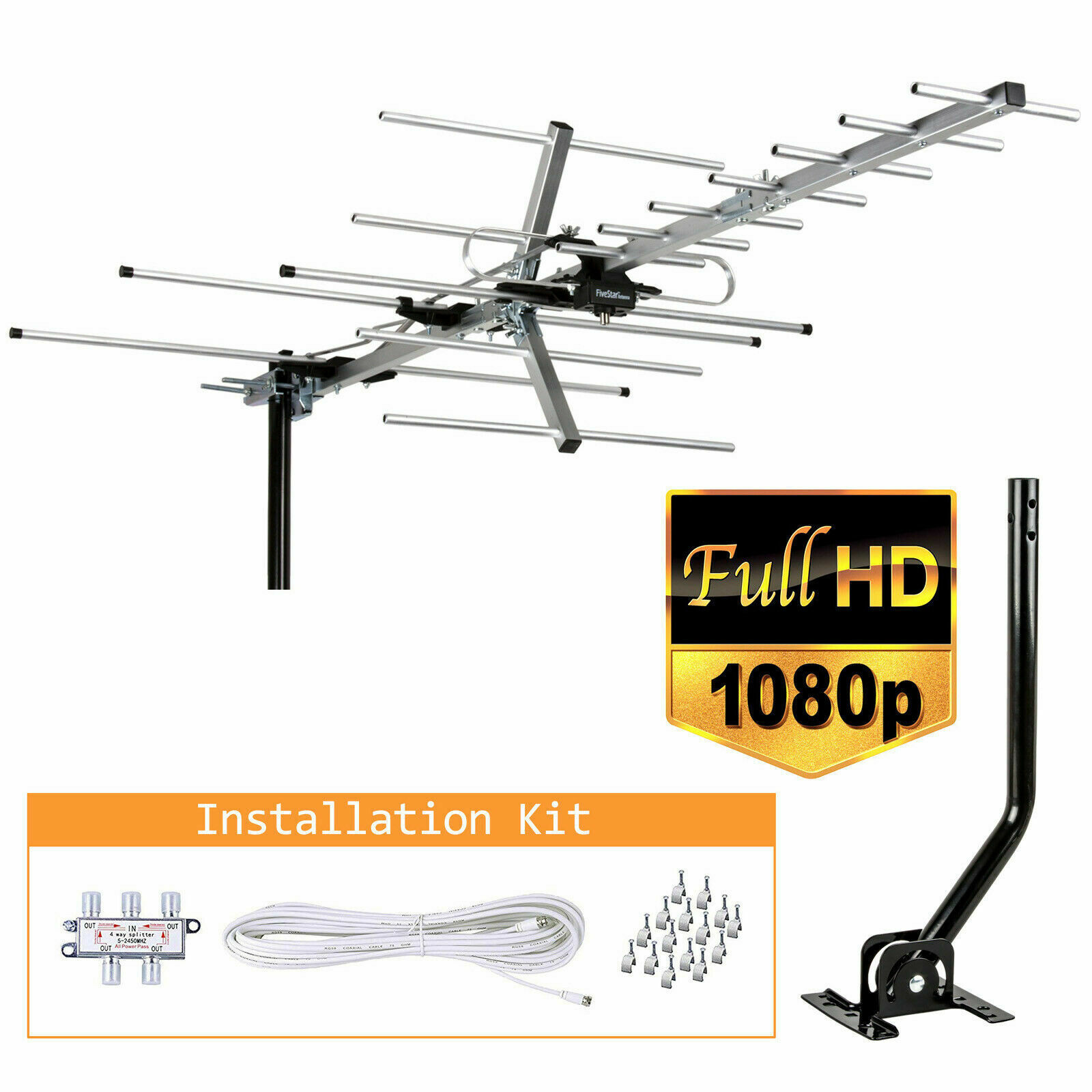 5812 espymall 200 Miles Outdoor Amplified HDTV TV Antenna HD VHF/UHF Mounting Pole 40ft Cable