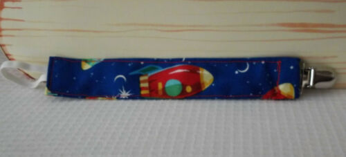 Dark BlueFabric w//Multi Color Space Ships Handmade Baby Pacifier Clip