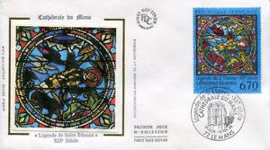 FRANCE-FDC-2859-1-VITRAIL-CATHEDRALE-DU-MANS-12-Fevrier-1994-LUXE-sur-soie