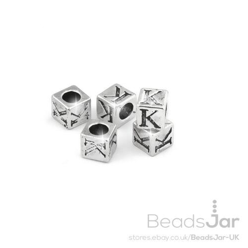 """Alfabeto Perline Lettera /""""K/"""" in metallo argento ciondolo cubo 7mm Pacco da 5 C65 // 11"""