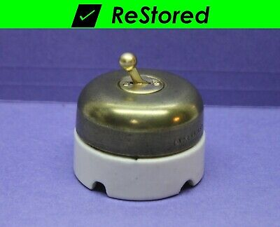 Single-Pole Round Brass//Porcelain ⭐ Vintage Dome Ball Toggle Switch Hubbell