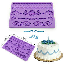 Purple Silicone Onlays Fondant Cake Border Mold Lace Baking Cake Decoration Tool