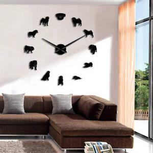 Details Sur A Faire Soi Meme Large Horloge Murale Carlin Chien Geant Horloge Avec Effet Miroir Wall Art Home Watch Afficher Le Titre D Origine