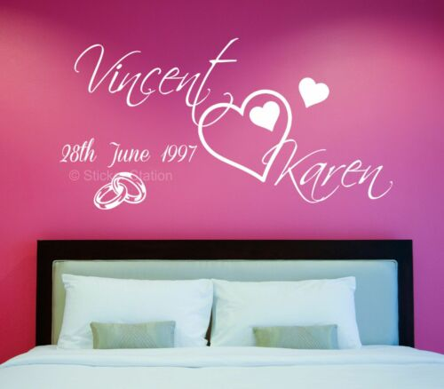 Wedding Anniversary Personalised Name /& Date Wall Art Mural Decal Sticker