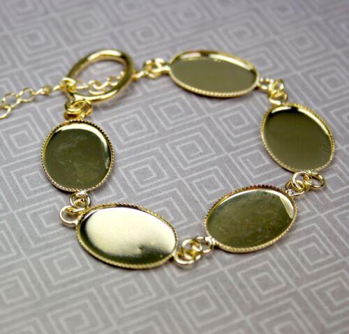 Pulsera de oro de tono Cabujón espacios en blanco de resina 4 piezas