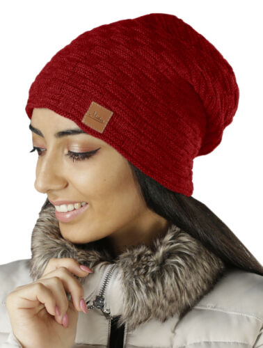 Damen Mütze Strick-Mutze Warm Beanie Zopfmuster Winter-Cap Innenfutter 654 NEU