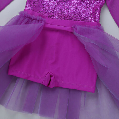 Girls Ballet Dance Dress Kids Modern Latin Gym Shiny Leotard Tutu Skirt Costume